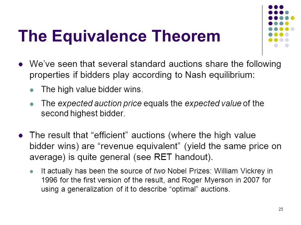 The Equivalence Theorem We've seen that several standard auctions share the following properties if bidders play according to Nash equilibrium: The hi
