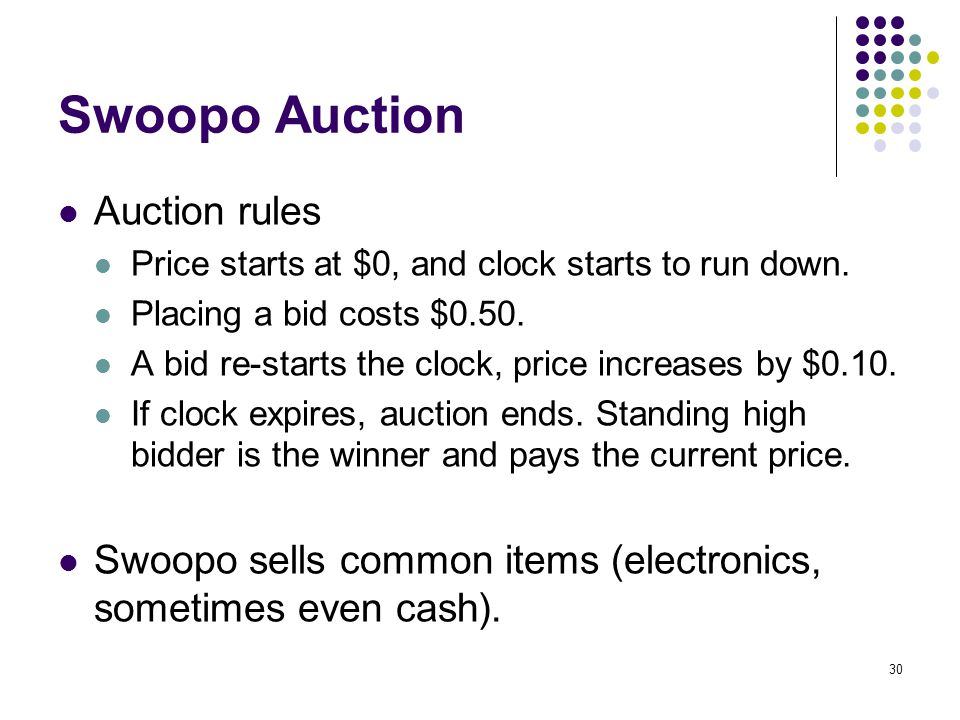 Swoopo Auction Auction rules Price starts at $0, and clock starts to run down. Placing a bid costs $0.50. A bid re-starts the clock, price increases b