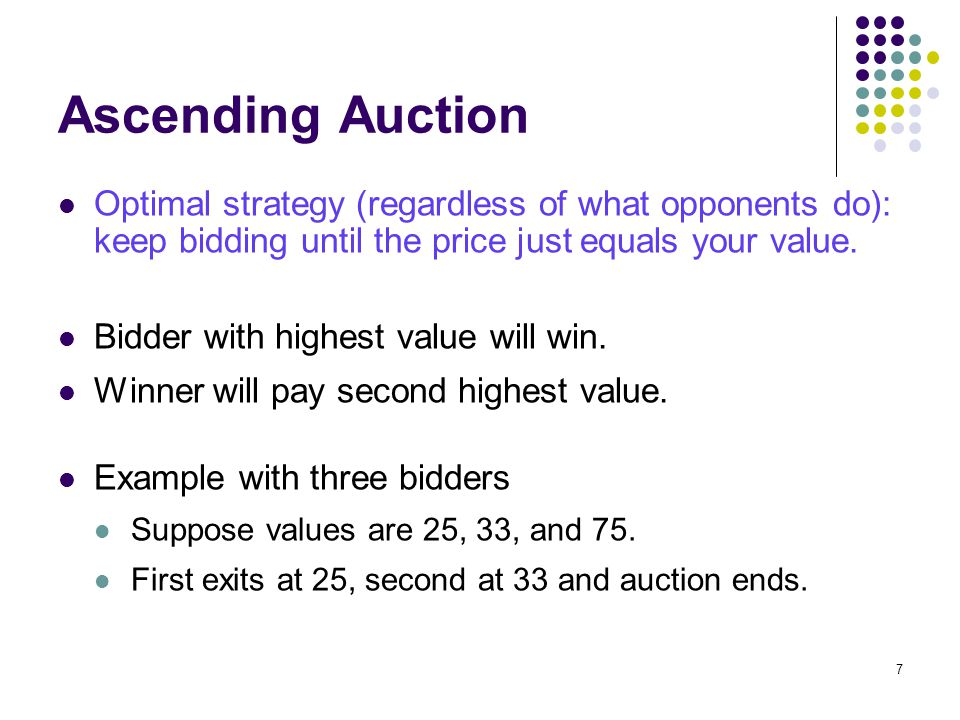 Ascending Auction Optimal strategy (regardless of what opponents do): keep bidding until the price just equals your value. Bidder with highest value w