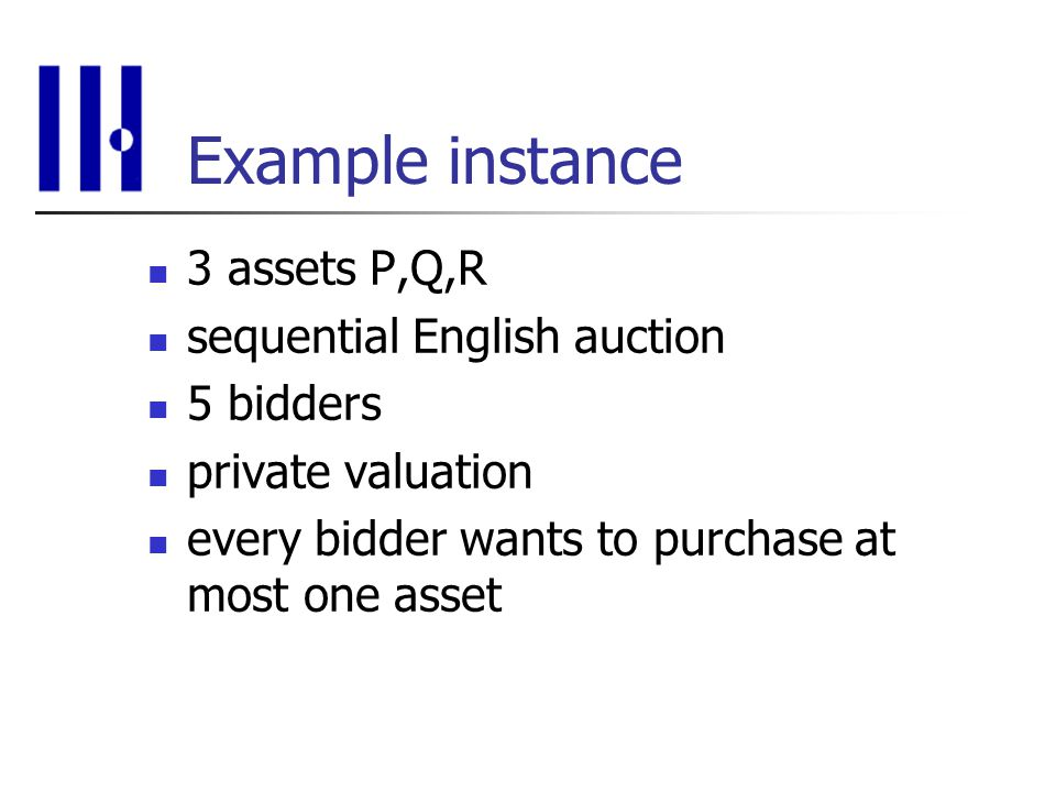 Example instance 3 assets P,Q,R sequential English auction 5 bidders private valuation every bidder wants to purchase at most one asset