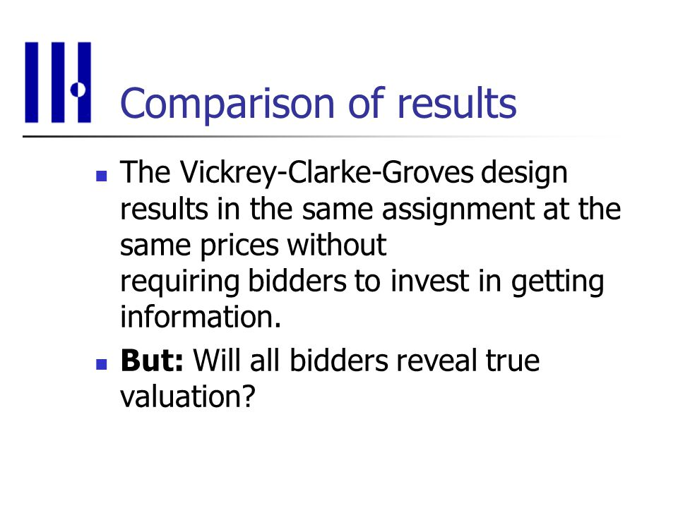 Comparison of results The Vickrey-Clarke-Groves design results in the same assignment at the same prices without requiring bidders to invest in getting information.