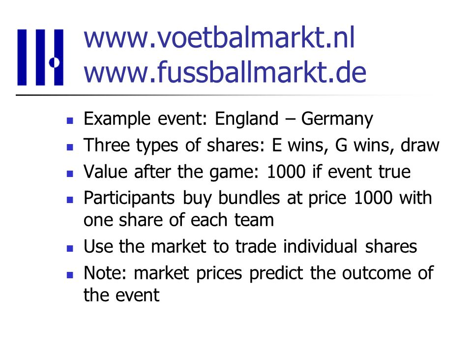 www.voetbalmarkt.nl www.fussballmarkt.de Example event: England – Germany Three types of shares: E wins, G wins, draw Value after the game: 1000 if event true Participants buy bundles at price 1000 with one share of each team Use the market to trade individual shares Note: market prices predict the outcome of the event