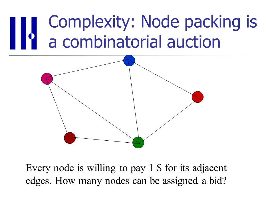Complexity: Node packing is a combinatorial auction Every node is willing to pay 1 $ for its adjacent edges.