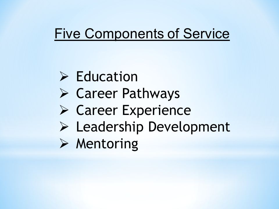  Education  Career Pathways  Career Experience  Leadership Development  Mentoring Five Components of Service