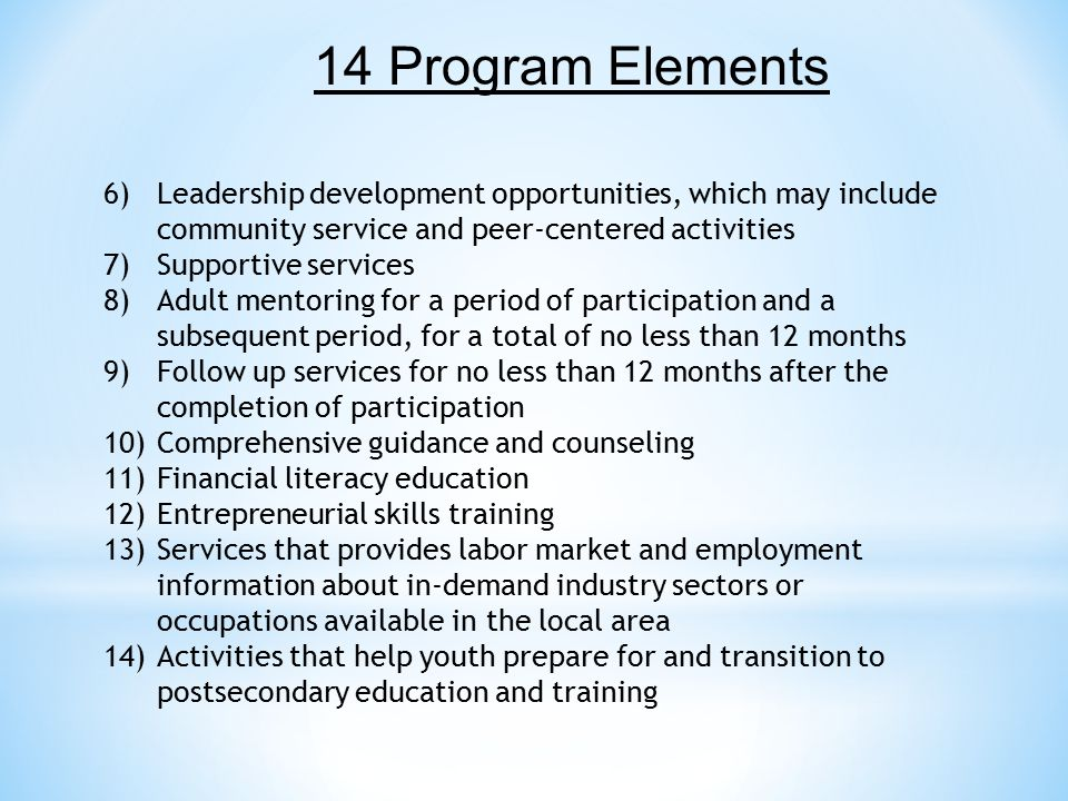 6)Leadership development opportunities, which may include community service and peer-centered activities 7)Supportive services 8)Adult mentoring for a period of participation and a subsequent period, for a total of no less than 12 months 9)Follow up services for no less than 12 months after the completion of participation 10)Comprehensive guidance and counseling 11)Financial literacy education 12)Entrepreneurial skills training 13)Services that provides labor market and employment information about in-demand industry sectors or occupations available in the local area 14)Activities that help youth prepare for and transition to postsecondary education and training 14 Program Elements
