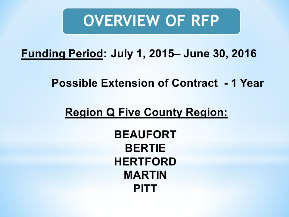 Funding Period: July 1, 2015– June 30, 2016 Possible Extension of Contract - 1 Year Region Q Five County Region: BEAUFORT BERTIE HERTFORD MARTIN PITT OVERVIEW OF RFP