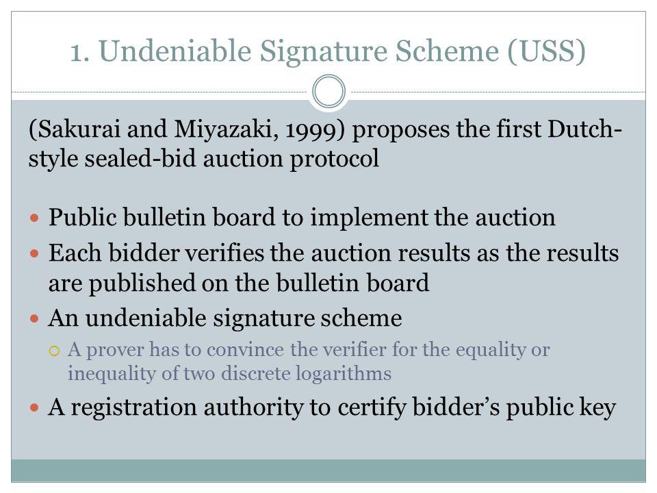 1. Undeniable Signature Scheme (USS) (Sakurai and Miyazaki, 1999) proposes the first Dutch- style sealed-bid auction protocol Public bulletin board to