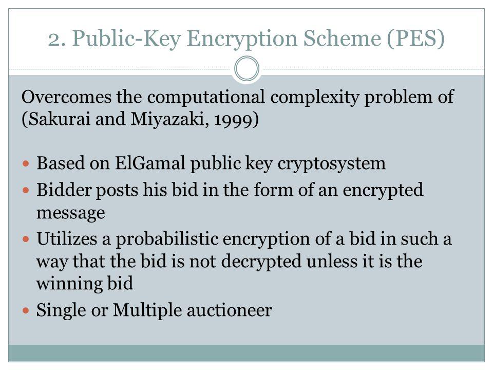2. Public-Key Encryption Scheme (PES) Overcomes the computational complexity problem of (Sakurai and Miyazaki, 1999) Based on ElGamal public key crypt