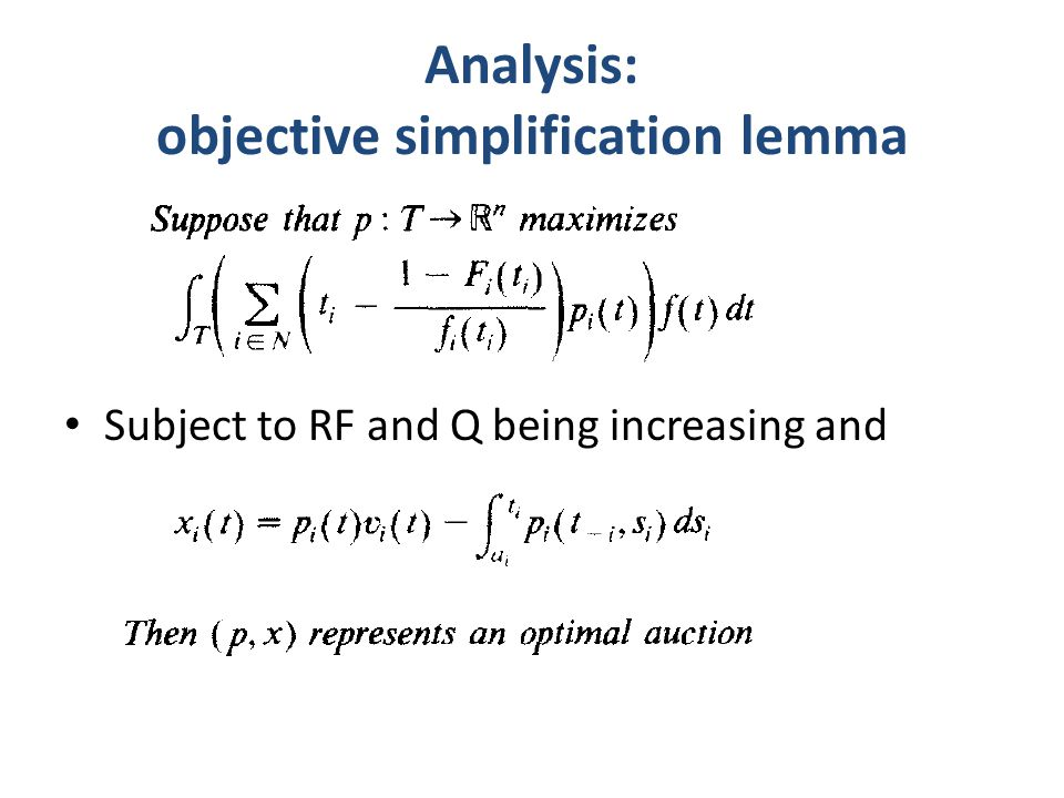 Analysis: objective simplification lemma Subject to RF and Q being increasing and