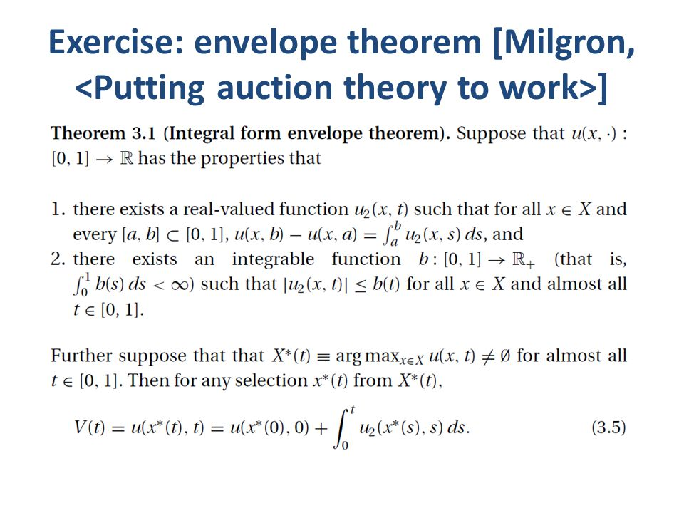 Exercise: envelope theorem [Milgron, ]