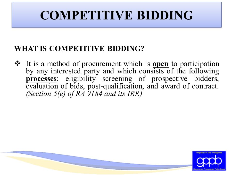 Section 22.1 of the IRR of RA 9184 provides that at least one (1) pre-bid conference should be conducted by the procuring entity for projects costing at least PhP1 Million, in order to afford prospective bidders the opportunity to inquire on or clarify any of the requirements, terms, conditions, and specifications stipulated in the Bidding Documents.