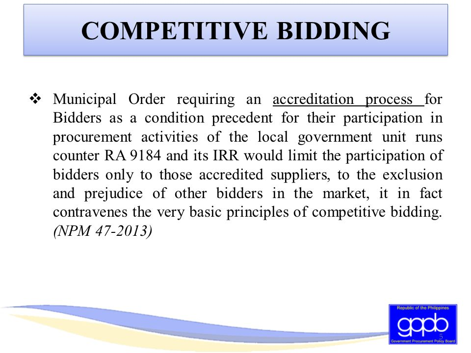 TECHNICAL ELIGIBILITY CRITERIA GOODS – SINGLE LARGEST CONTRACT (Illustration) Expendable GoodsNon-expendable Goods ABC = P1,000,000 GR: 25% of the ABC THUS: Previous contract should be at least P250,000 EXCEPTION: At least 2 similar contracts aggregate amount at least equivalent to required percentage; and Largest of the similar contracts amounts to at least 50% of required percentage.