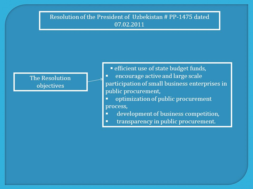  efficient use of state budget funds,  encourage active and large scale participation of small business enterprises in public procurement,  optimization of public procurement process,  development of business competition,  transparency in public procurement.