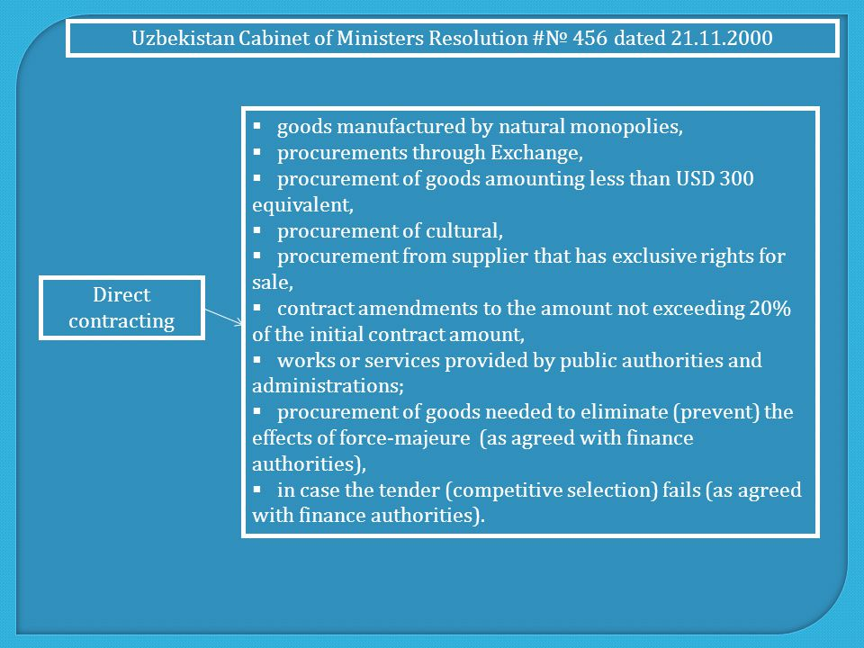 Uzbekistan Cabinet of Ministers Resolution # 100 dated 01.04.2011 The followings are reflected in the Resolution  Activity of working authority of the Government Commission for Public Procurement and its main tasks, functions and rights.