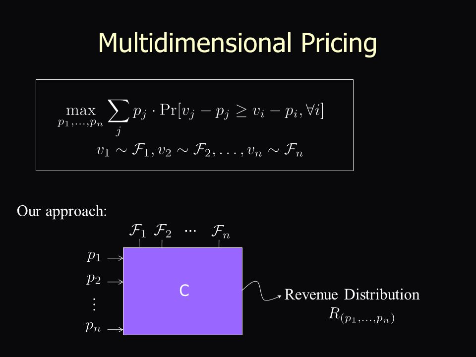 Multidimensional Pricing Our approach: … … C Revenue Distribution