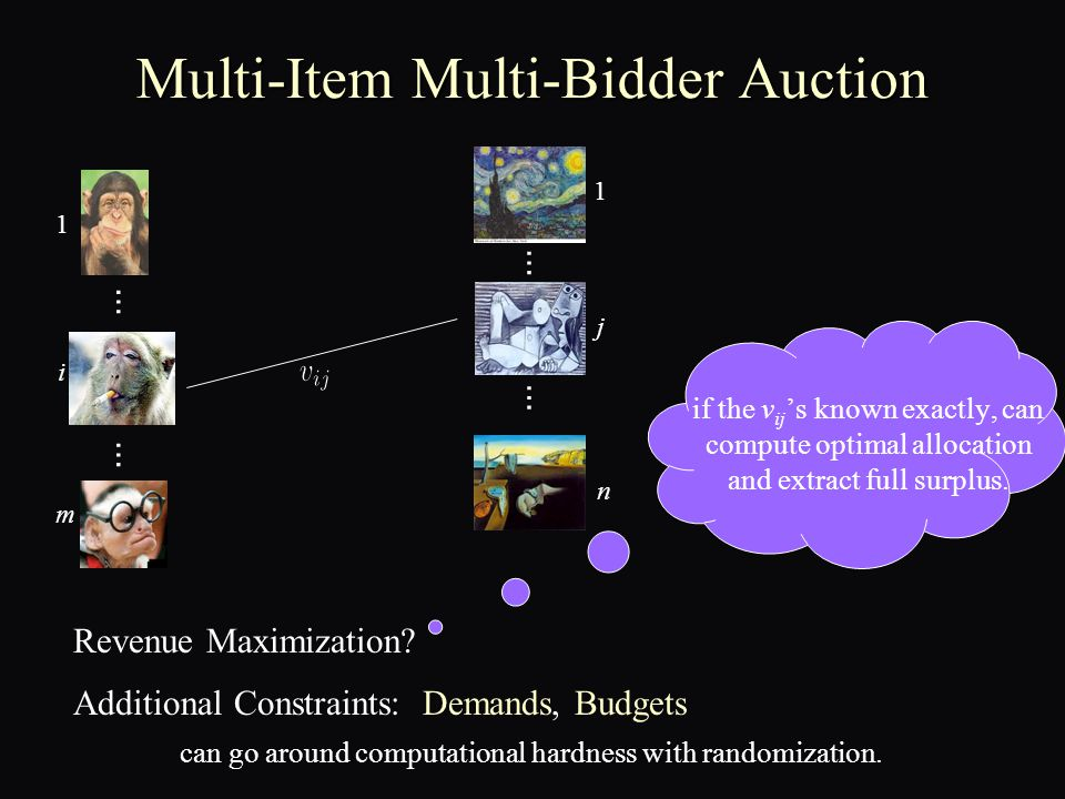 Multi-dimensional Optimal MD ► [Cai-D '10]: Closed-form, efficiently computable, (1-ε)- optimal revenue mechanism for the SINGLE bidder case.