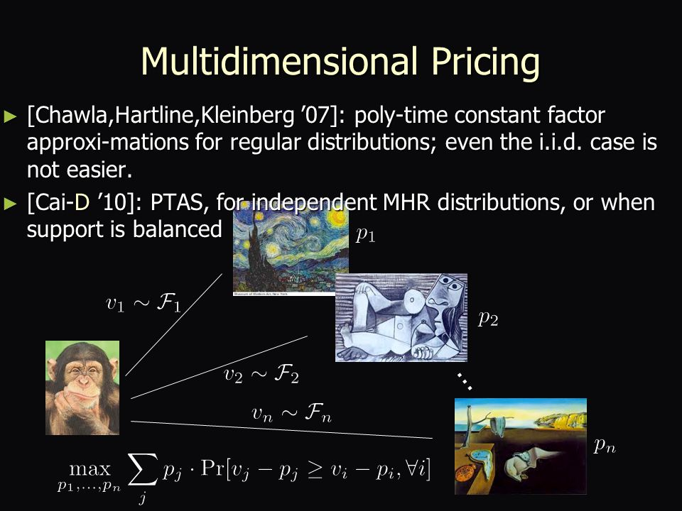 Multidimensional Pricing ► [Chawla,Hartline,Kleinberg '07]: poly-time constant factor approxi-mations for regular distributions; even the i.i.d.