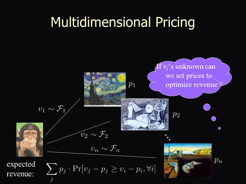Multidimensional Pricing … expected revenue: If v i 's unknown can we set prices to optimize revenue