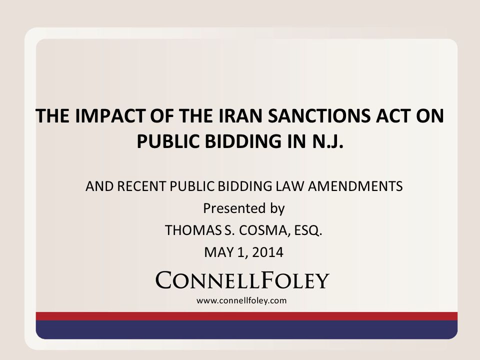 IRAN SANCTIONS ACT Ch.25 amended LPCL, PSCL and CCCL.
