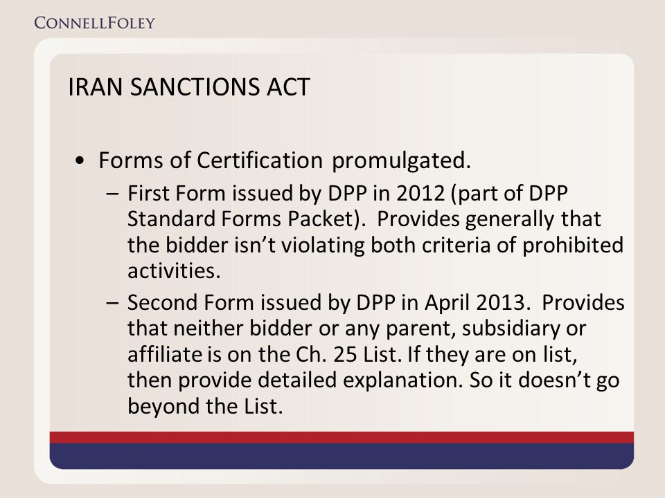 IRAN SANCTIONS ACT Forms of Certification promulgated.