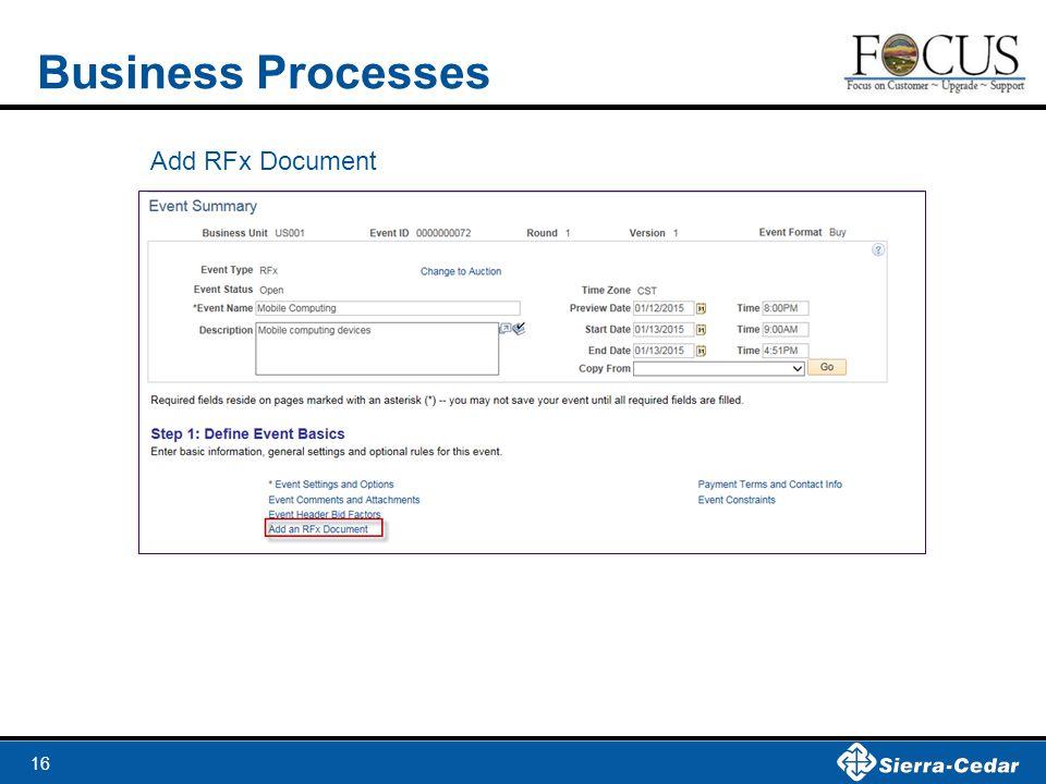 16 Business Processes Add RFx Document