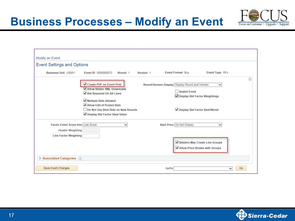 17 Business Processes – Modify an Event