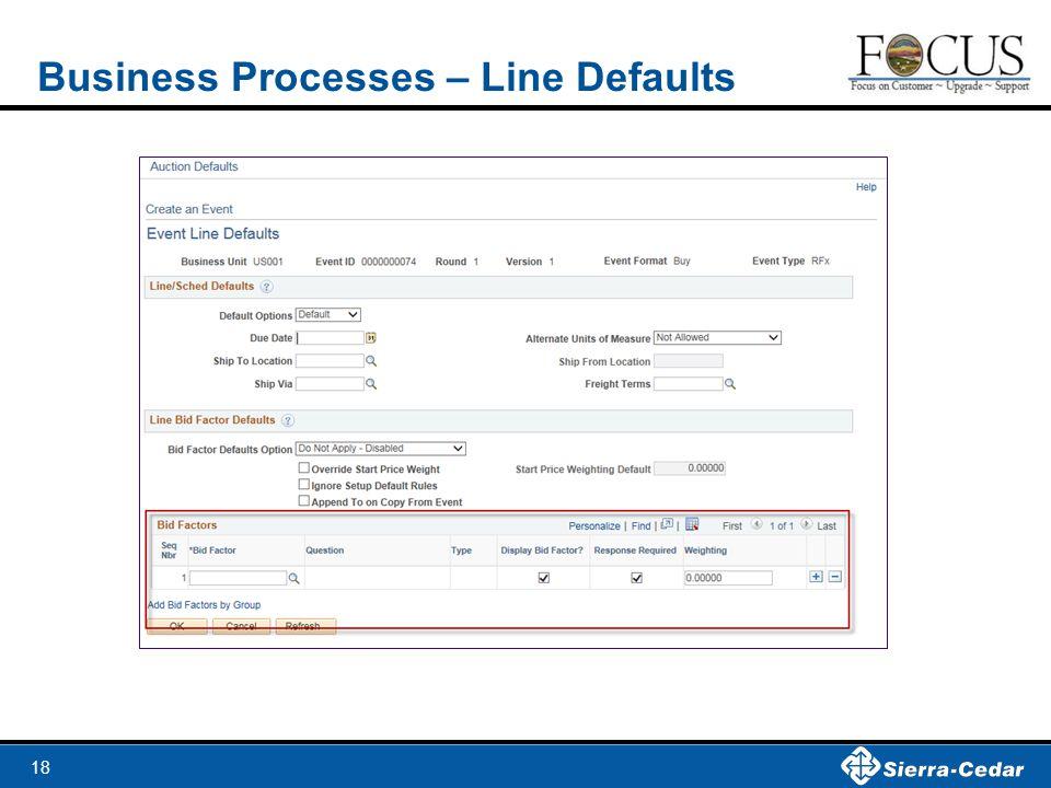 18 Business Processes – Line Defaults
