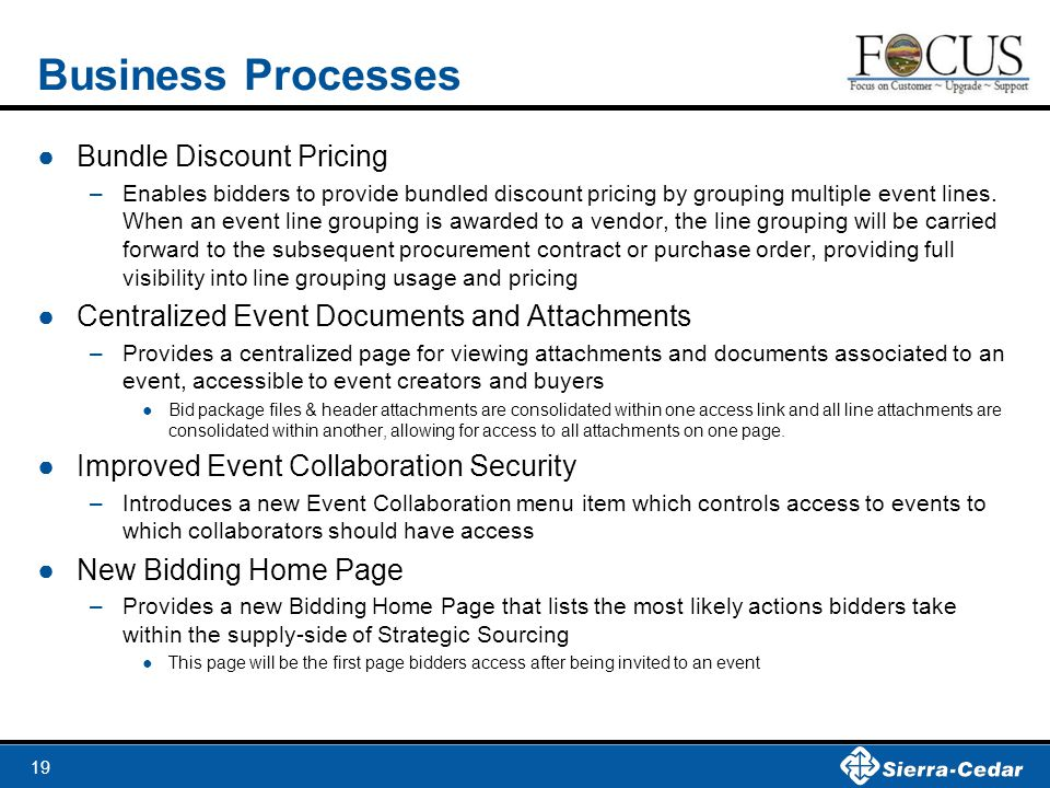 19 Business Processes ●Bundle Discount Pricing –Enables bidders to provide bundled discount pricing by grouping multiple event lines. When an event li