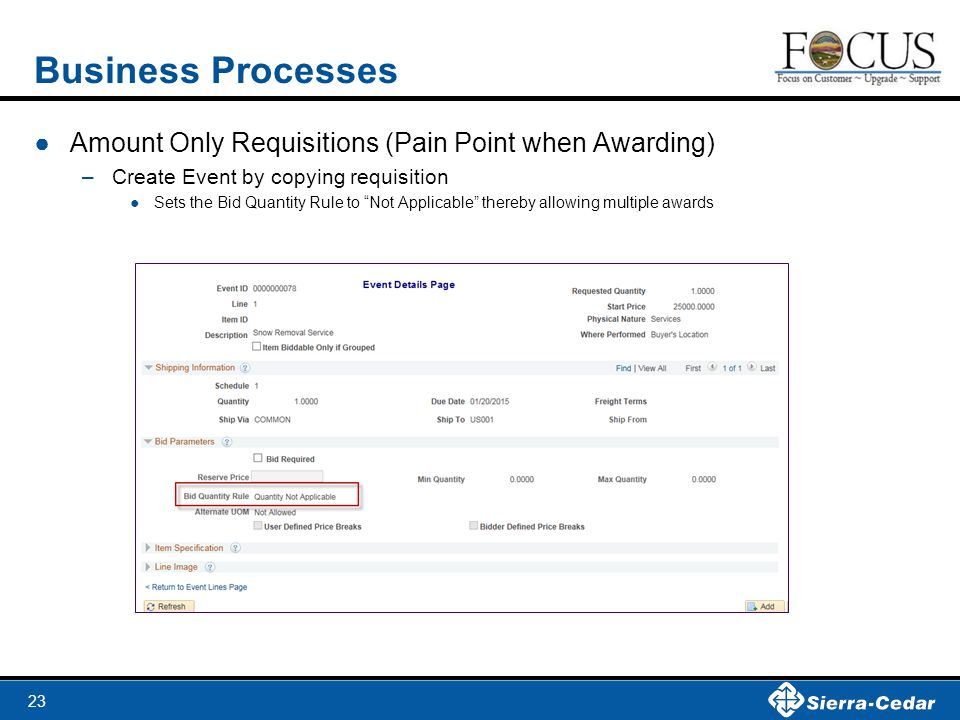 """23 Business Processes ●Amount Only Requisitions (Pain Point when Awarding) –Create Event by copying requisition ●Sets the Bid Quantity Rule to """"Not Ap"""