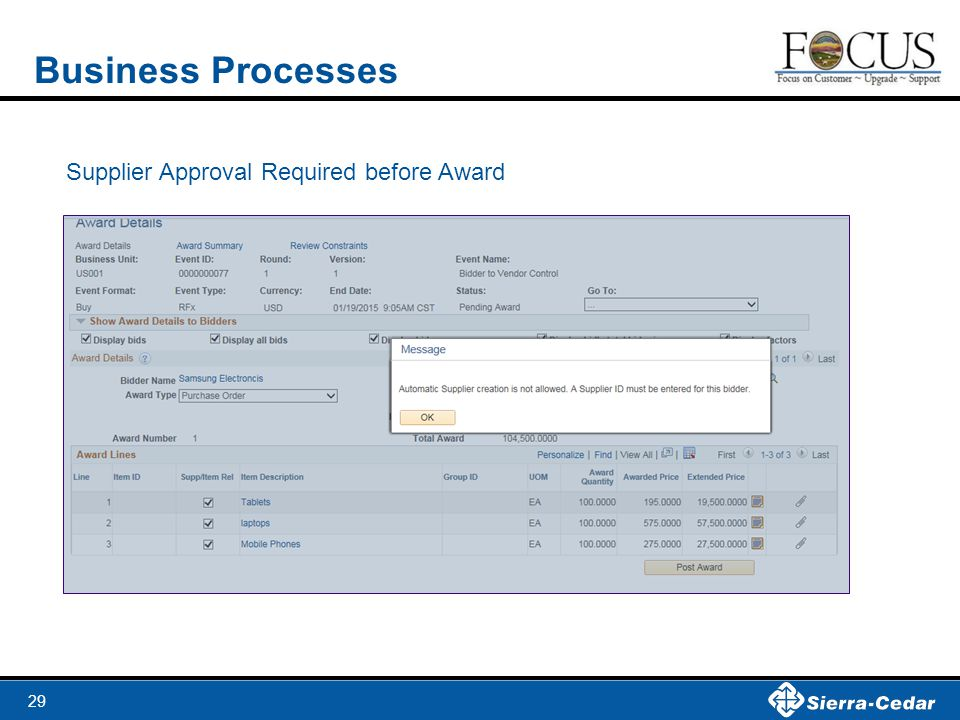 29 Business Processes Supplier Approval Required before Award