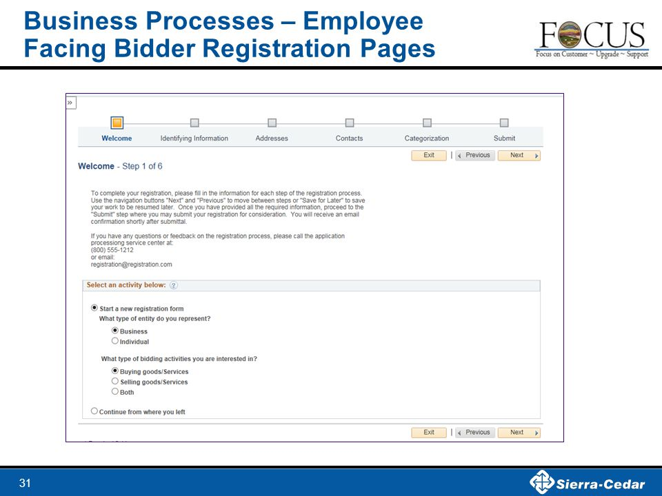 31 Business Processes – Employee Facing Bidder Registration Pages