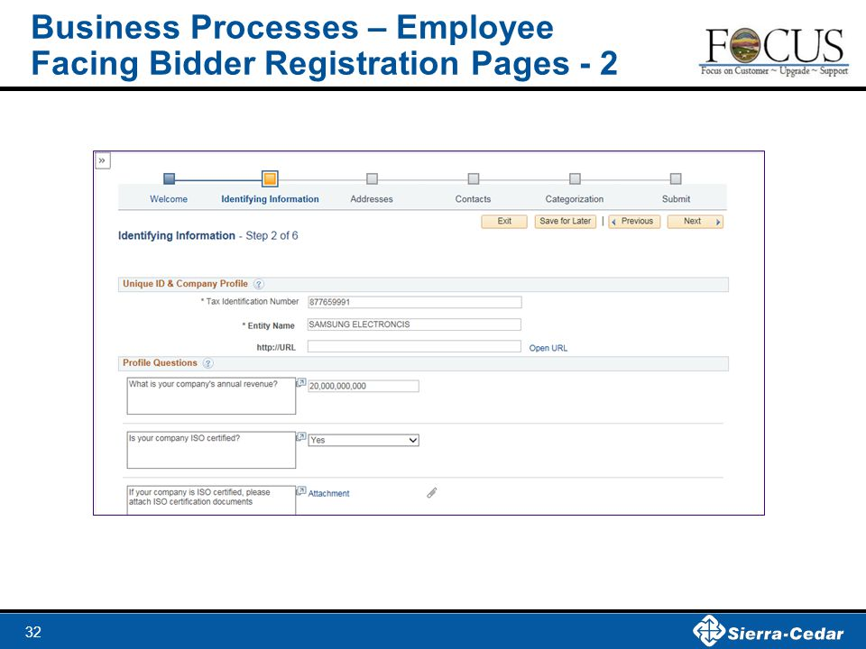 32 Business Processes – Employee Facing Bidder Registration Pages - 2