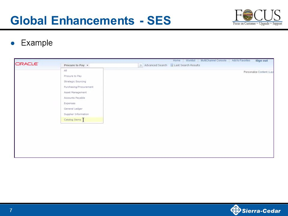 7 Global Enhancements - SES ●Example
