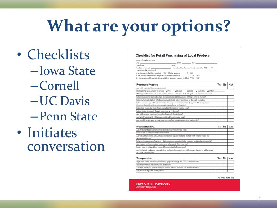 What are your options? Checklists – Iowa State – Cornell – UC Davis – Penn State Initiates conversation 14