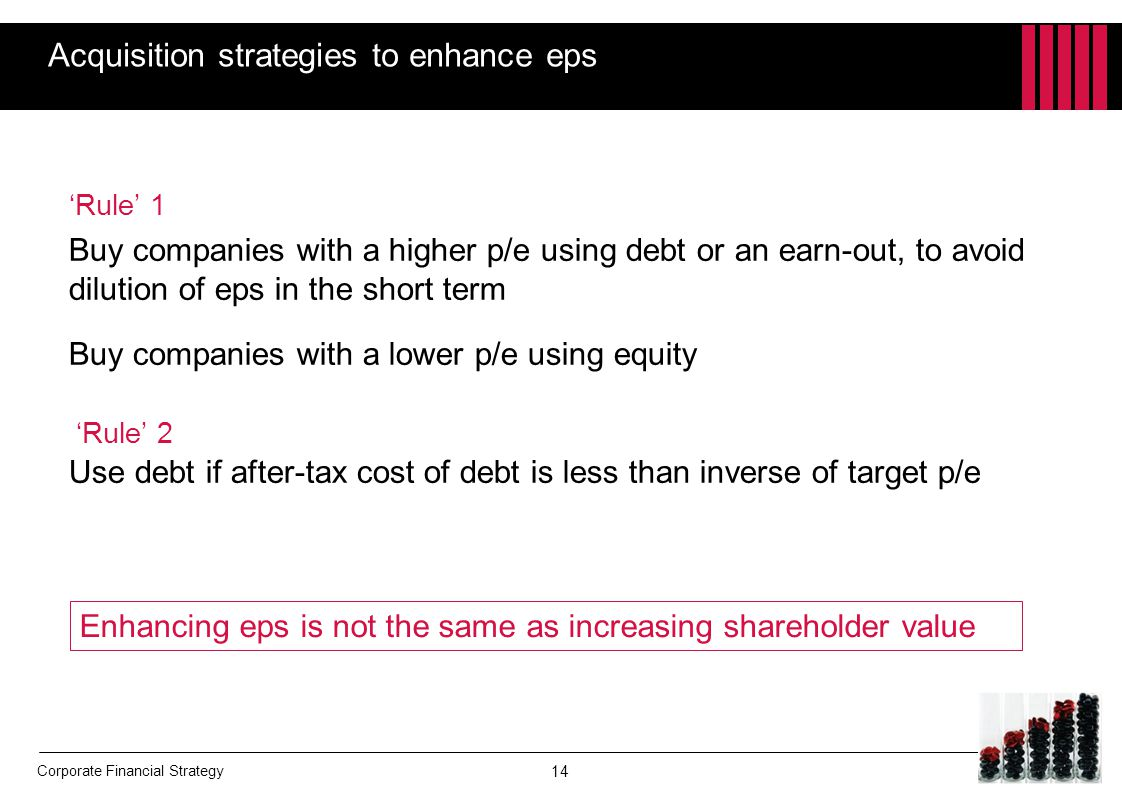 Corporate Financial Strategy Acquisition strategies to enhance eps 'Rule' 1 Buy companies with a higher p/e using debt or an earn-out, to avoid diluti