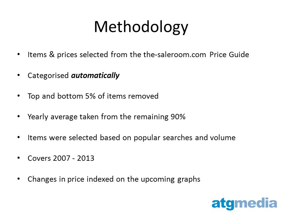 Methodology Items & prices selected from the the-saleroom.com Price Guide Categorised automatically Top and bottom 5% of items removed Yearly average