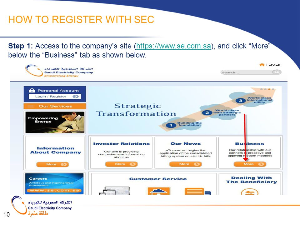 """HOW TO REGISTER WITH SEC Step 1: Access to the company's site (https://www.se.com.sa), and click """"More"""" below the """"Business"""" tab as shown below.https:"""