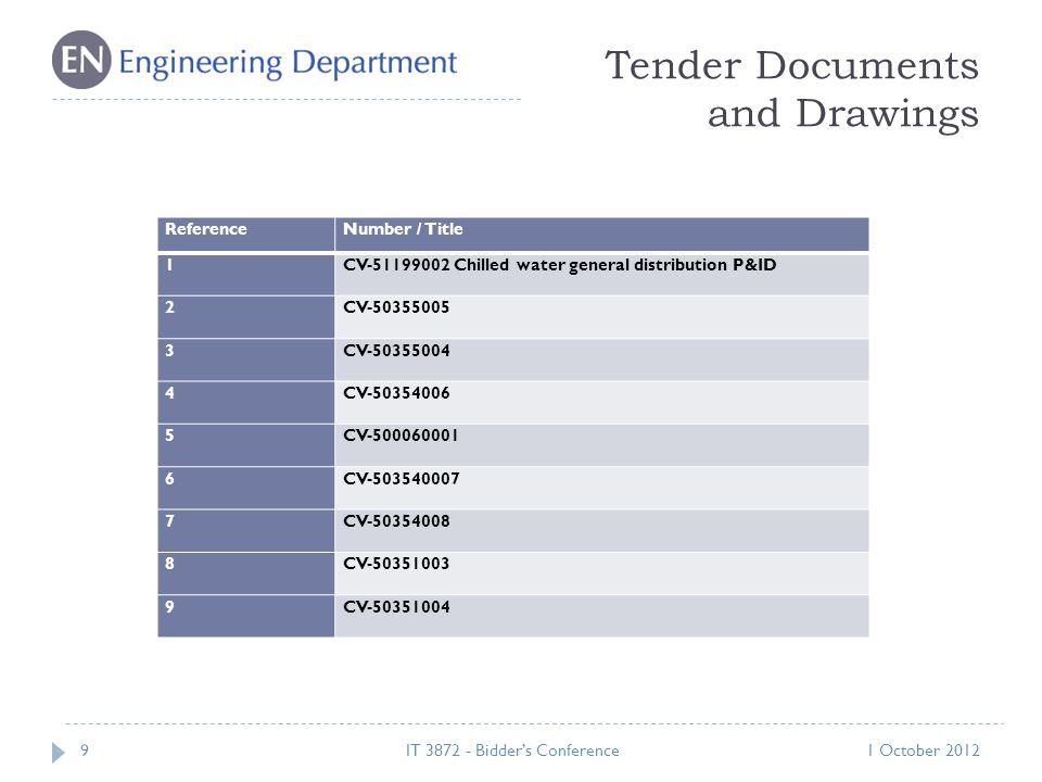Tender Documents and Drawings 91 October 2012IT 3872 - Bidder's Conference ReferenceNumber / Title 1CV-51199002 Chilled water general distribution P&ID 2CV-50355005 3CV-50355004 4CV-50354006 5CV-500060001 6CV-503540007 7CV-50354008 8CV-50351003 9CV-50351004