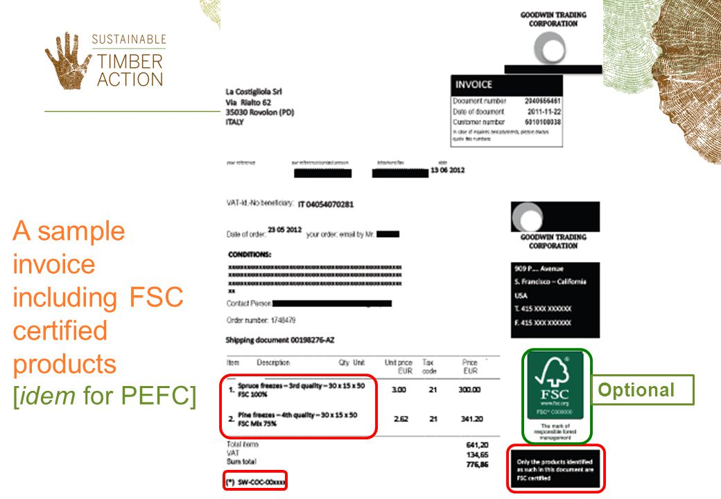 A sample invoice including FSC certified products [idem for PEFC] Optional