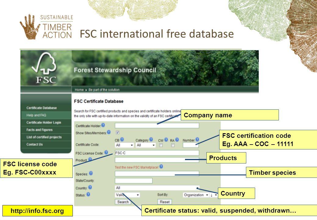FSC international free database Company nameFSC certification code Eg.