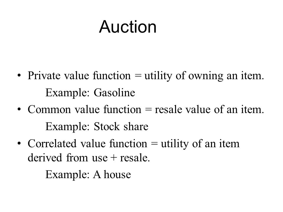 Auction Design When designing an auction for a multiagent system you must make many decisions.