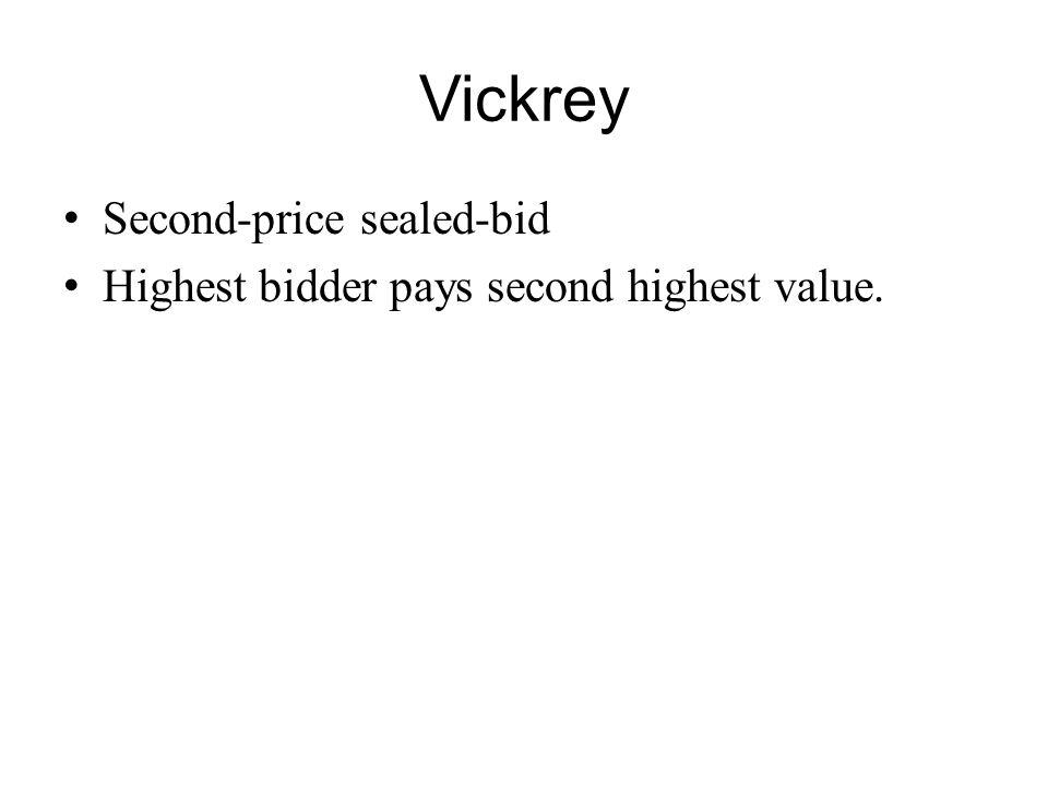 Vickrey Second-price sealed-bid Highest bidder pays second highest value.