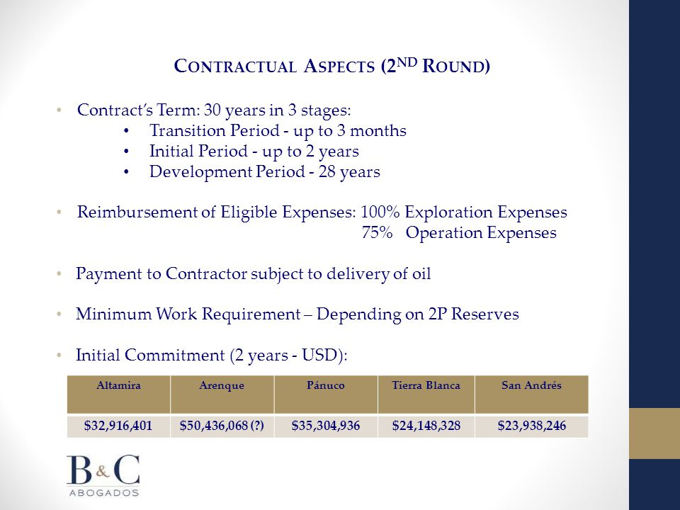 C ONTRACTUAL A SPECTS (2 ND R OUND ) Contract's Term: 30 years in 3 stages: Transition Period - up to 3 months Initial Period - up to 2 years Development Period - 28 years Reimbursement of Eligible Expenses: 100% Exploration Expenses 75% Operation Expenses Payment to Contractor subject to delivery of oil Minimum Work Requirement – Depending on 2P Reserves Initial Commitment (2 years - USD): AltamiraArenquePánucoTierra BlancaSan Andrés $32,916,401$50,436,068 ( )$35,304,936$24,148,328$23,938,246