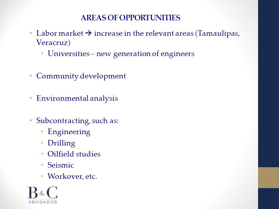 AREAS OF OPPORTUNITIES Labor market  increase in the relevant areas (Tamaulipas, Veracruz) Universities – new generation of engineers Community development Environmental analysis Subcontracting, such as: Engineering Drilling Oilfield studies Seismic Workover, etc.