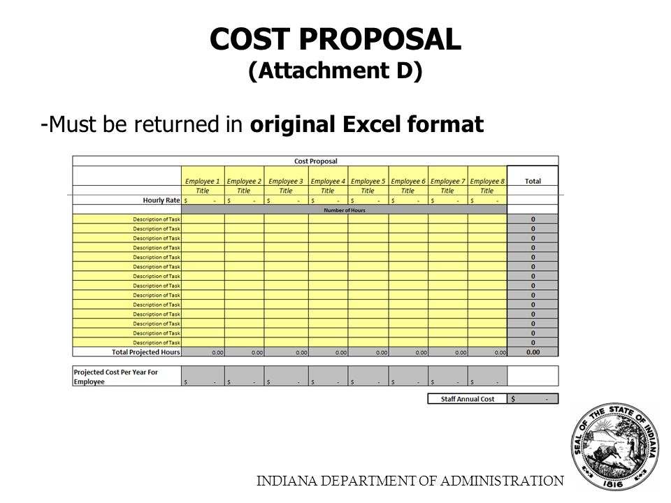 INDIANA DEPARTMENT OF ADMINISTRATION COST PROPOSAL (Attachment D) -Must be returned in original Excel format