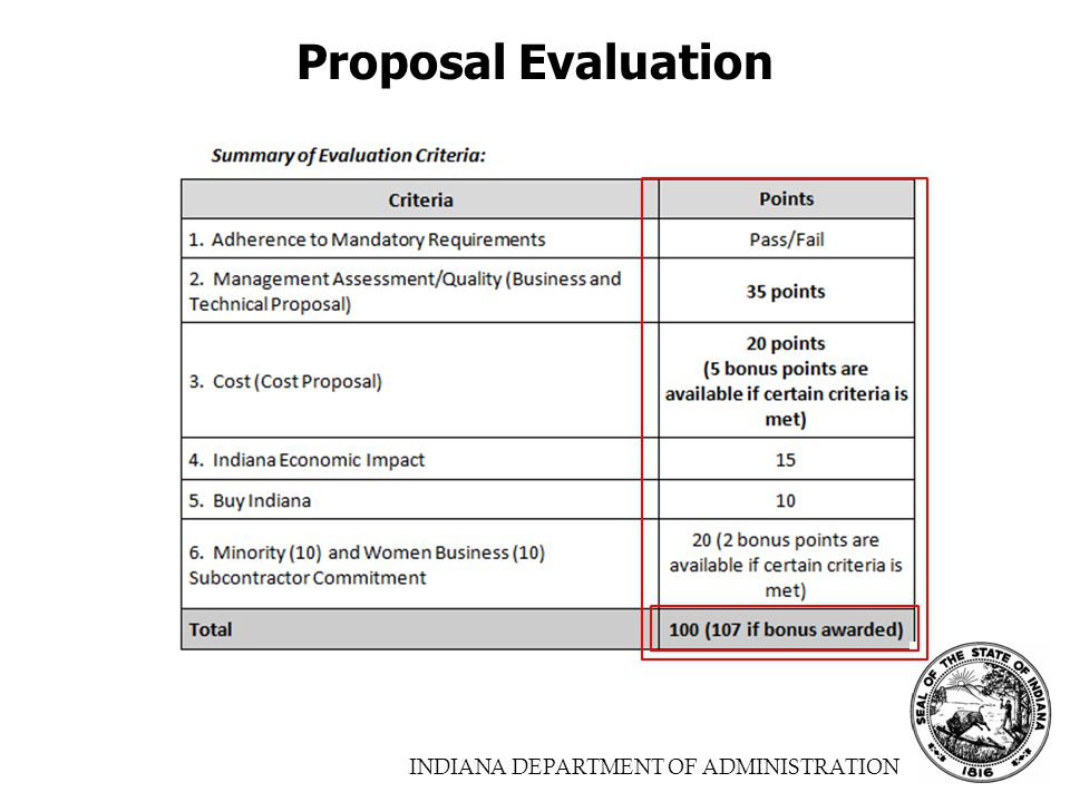 INDIANA DEPARTMENT OF ADMINISTRATION Proposal Evaluation