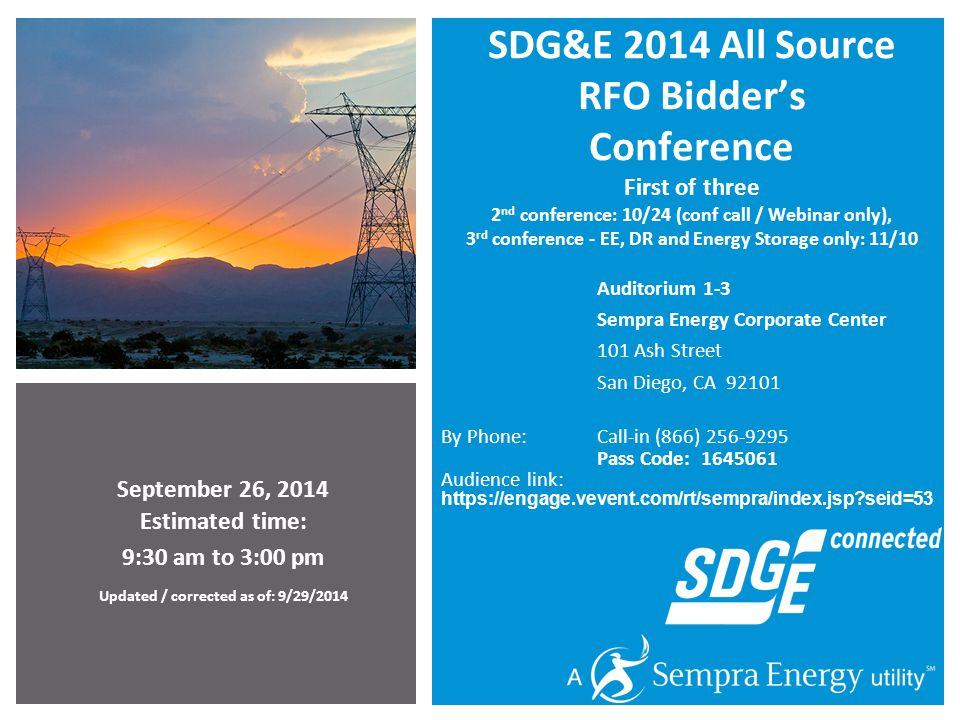 32 Instruction Sheet and Form Color Key SDG&E 2014 All Source RFO - Bidders Conference