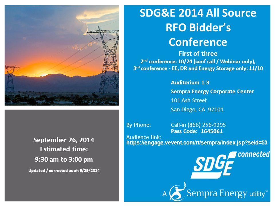 2 Agenda SDG&E 2014 All Source RFO - Bidders Conference