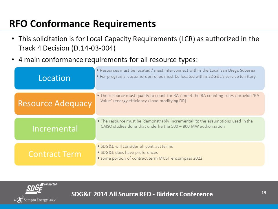 19 RFO Conformance Requirements SDG&E 2014 All Source RFO - Bidders Conference This solicitation is for Local Capacity Requirements (LCR) as authorize