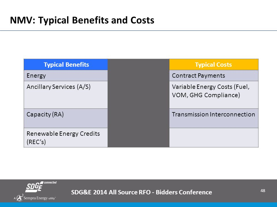48 NMV: Typical Benefits and Costs SDG&E 2014 All Source RFO - Bidders Conference Typical BenefitsTypical Costs EnergyContract Payments Ancillary Serv